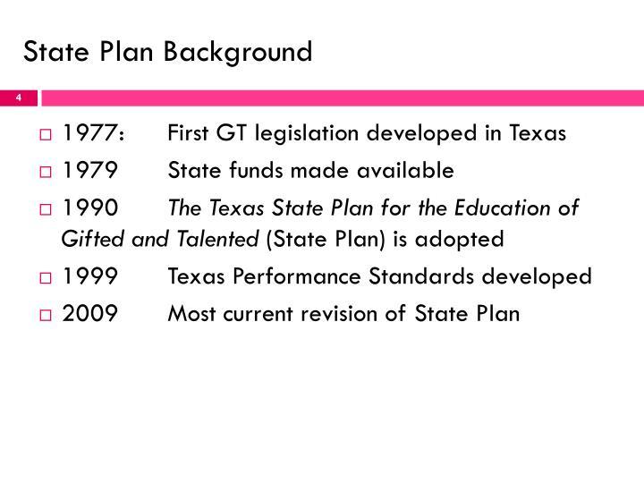 State Plan Background