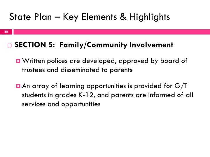 State Plan – Key Elements & Highlights