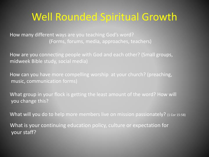 Well Rounded Spiritual Growth
