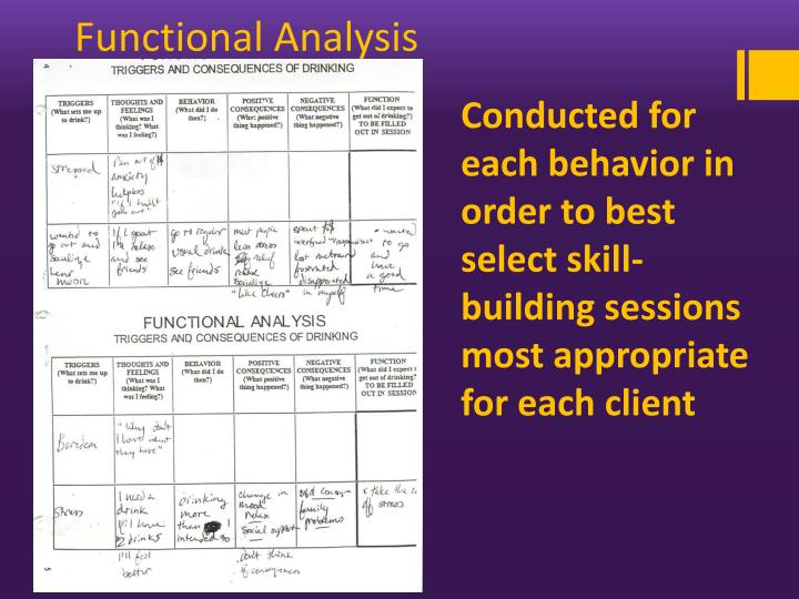 Conducted for each behavior in order to best select skill-building sessions most appropriate for each client