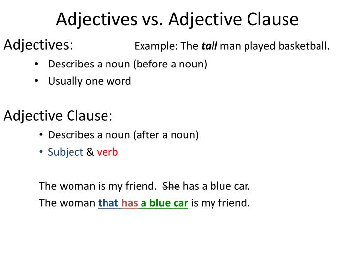 what is an adjective clause example