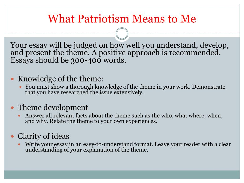 Write My Essay Paper What Patriotism Means To Me N History Of English Essay also Examples Of Thesis Statements For Expository Essays Ppt  What Patriotism Means To Me Powerpoint Presentation  Id How To Write A Proposal Essay Outline