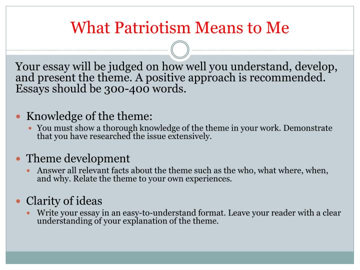 patriotism meaning essay Definition of patriotism essays before this assignment i never really stopped and thought about what the definition of patriotism was or what it means to me.