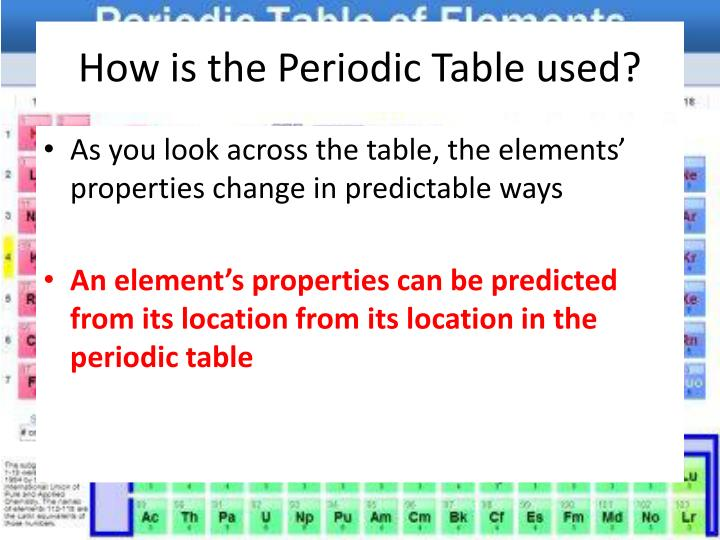 How is the Periodic Table used?