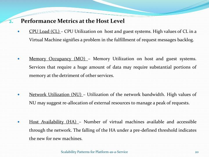 Performance Metrics at the Host Level