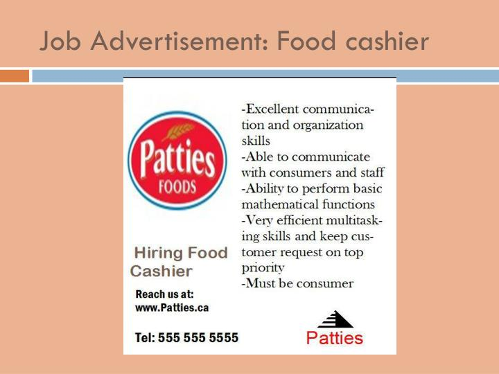Job Advertisement: Food cashier