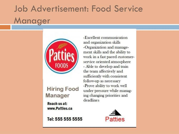 Job Advertisement: Food