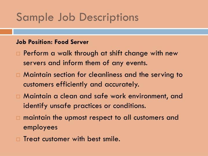 Sample Job Descriptions