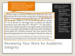 reviewing your w ork for academic i ntegrity