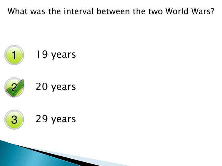 What was the interval between the two World Wars?