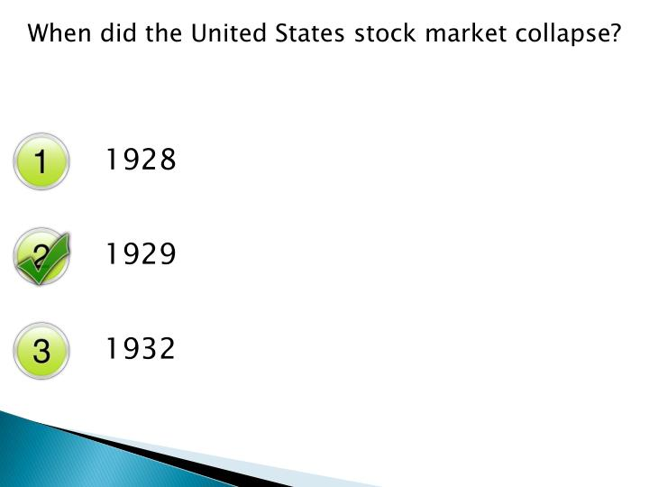 When did the United States stock market collapse?