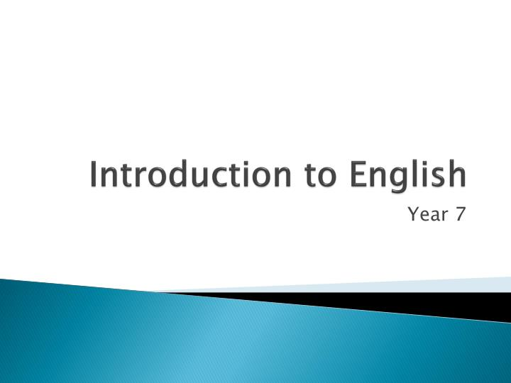 introduction to english n.
