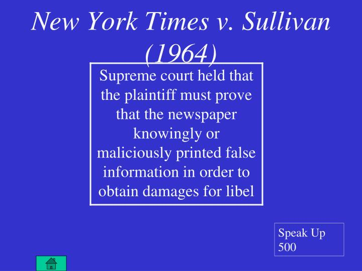 new york times co v sullivan by susan dudley gold 9780761421450