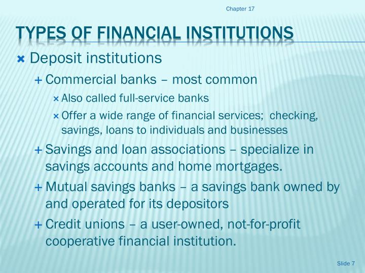 different types of financial institutions