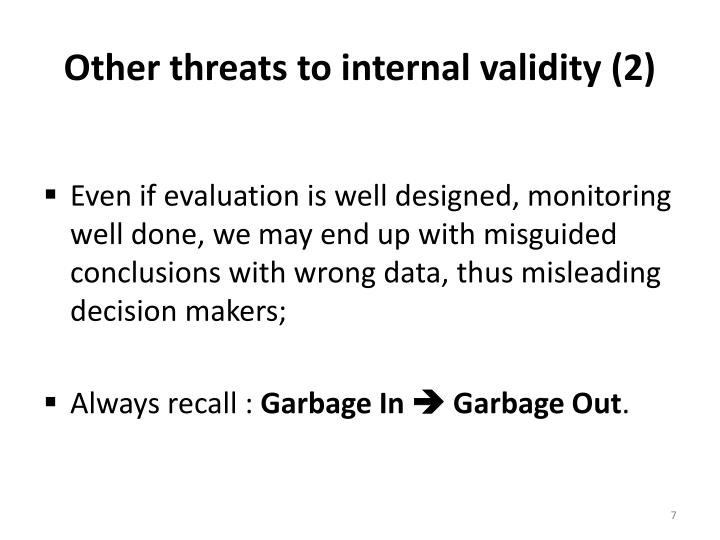 Other threats to internal validity (2)