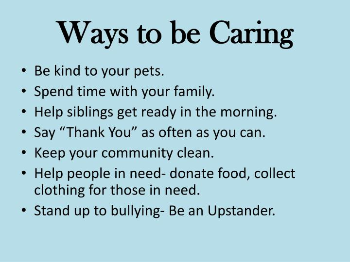 Ways to be Caring