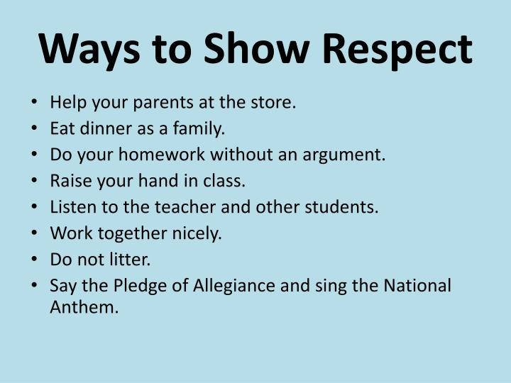 Ways to Show Respect
