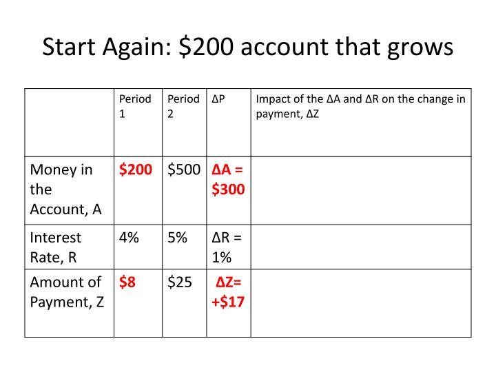 Start Again: $200 account that grows