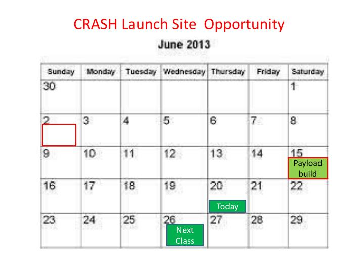 CRASH Launch Site  Opportunity