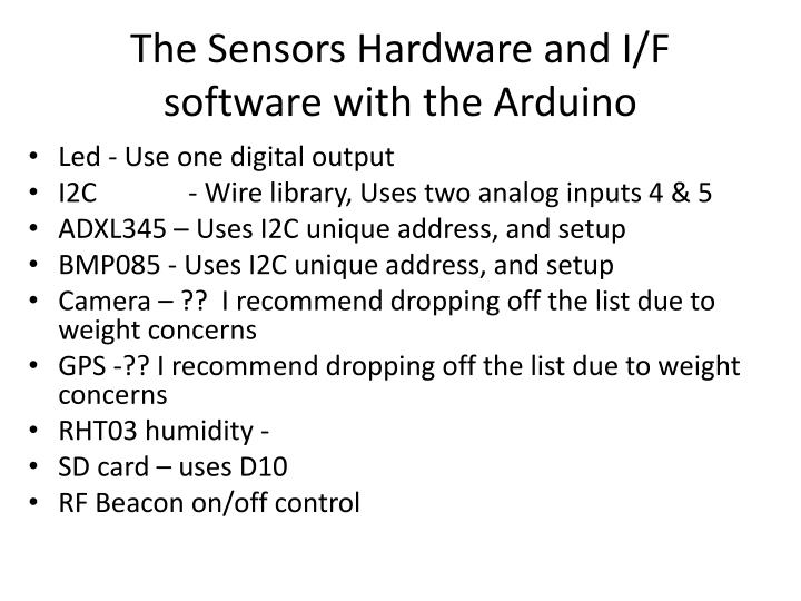 The Sensors Hardware and I/F software with the Arduino