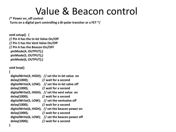Value & Beacon control