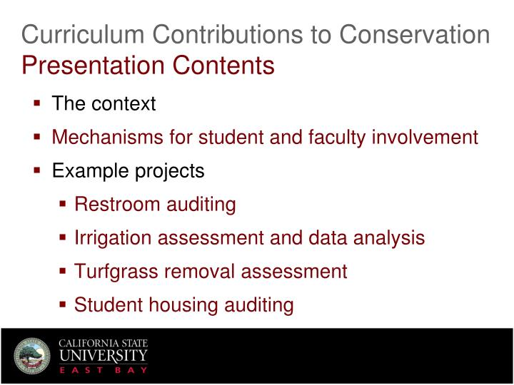 Curriculum contributions to conservation presentation contents