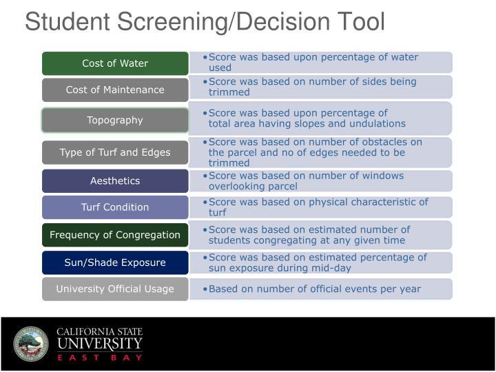 Student Screening/Decision Tool