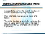 modifications scheduled tasks