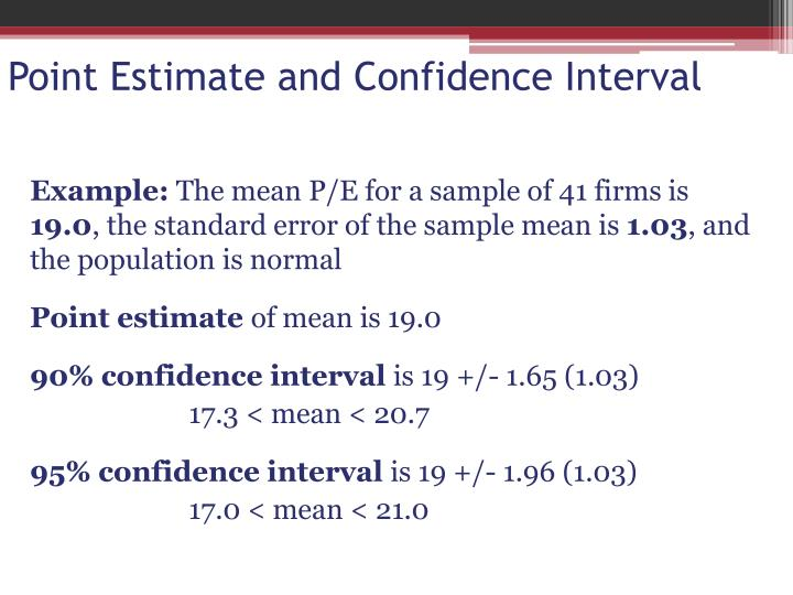 Point Estimate and Confidence Interval