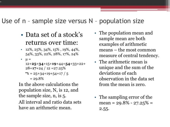 Use of n sample size versus n population size