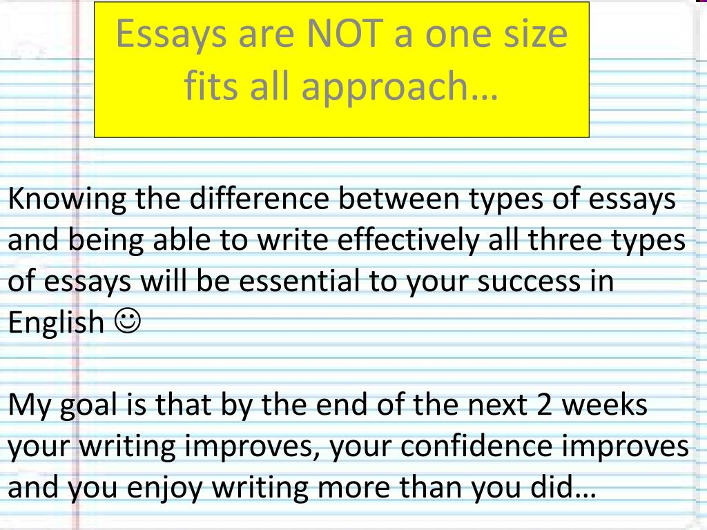 ppt   essays are not a one size fits all approach powerpoint  knowing the difference between types of essays and being able