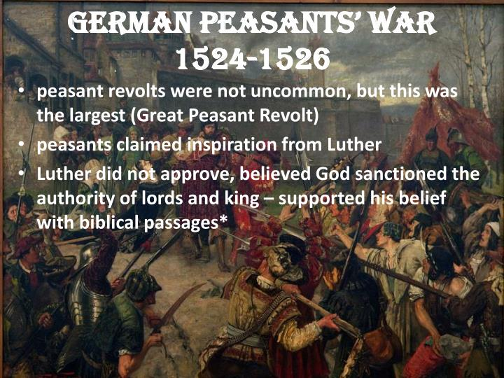 luther and the peasants revolt essay Why did the peasants' revolt (1381) fail essays: over 180,000 why did the peasants' revolt home » essay » why did the peasants revolt 1381 luther said that.