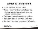 winter 2012 migration