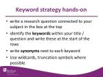 keyword strategy hands on