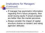 implications for managers continued1