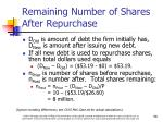 remaining number of shares after repurchase