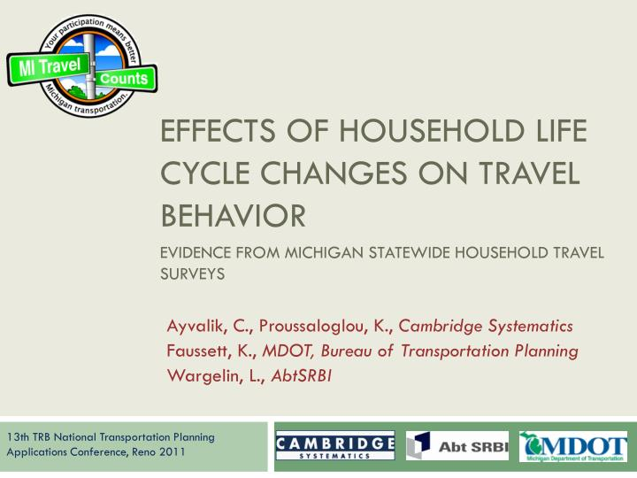 effects of household life cycle changes on travel behavior n.