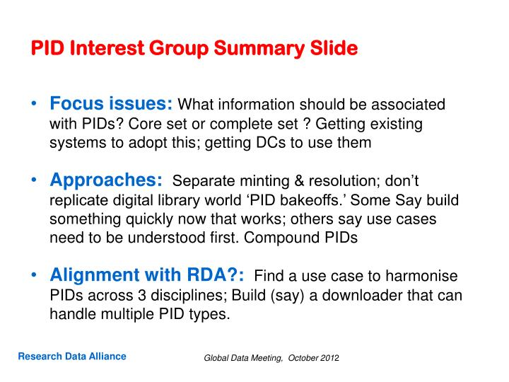 pid interest group summary slide