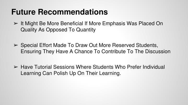 Future Recommendations