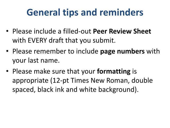 General tips and reminders