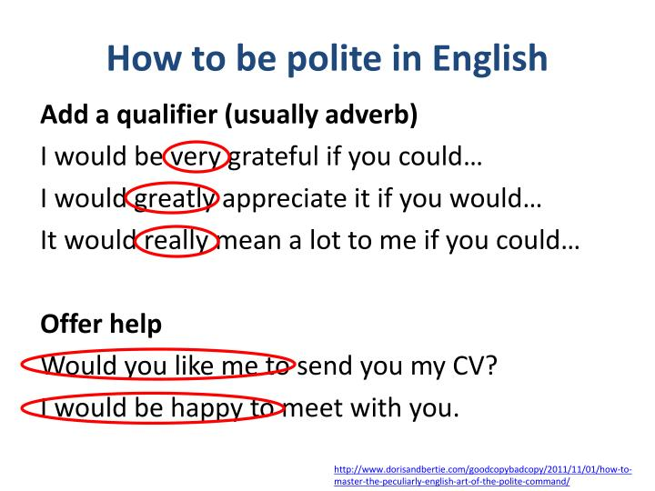 How to be polite in English