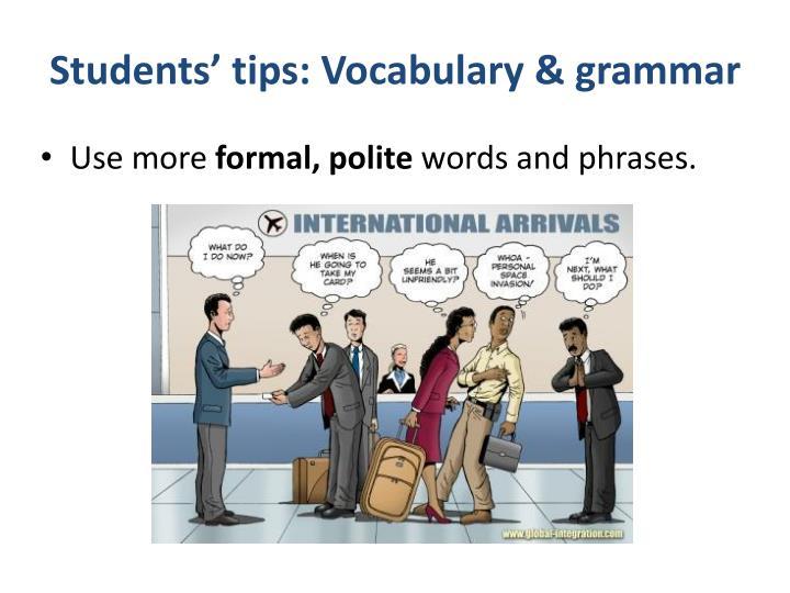 Students' tips: Vocabulary & grammar