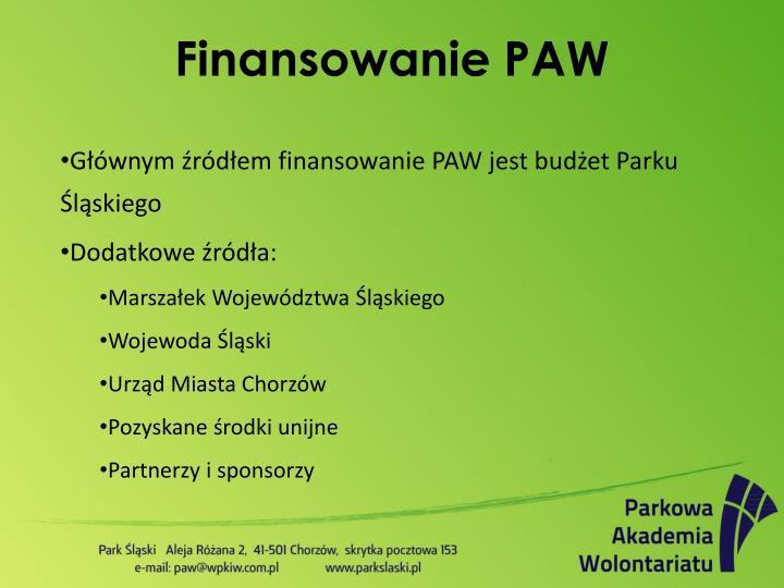 Finansowanie PAW