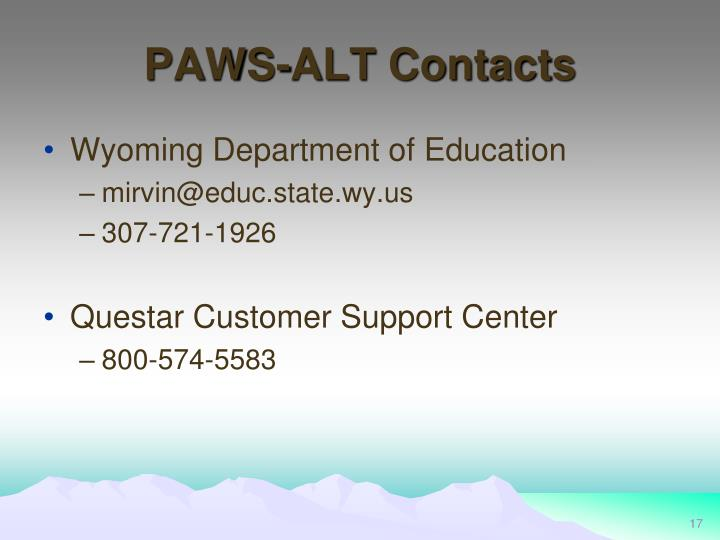 PAWS-ALT Contacts