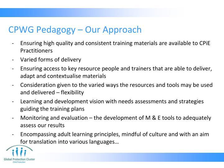 CPWG Pedagogy
