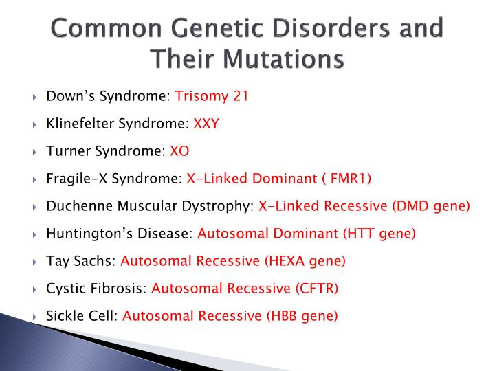 Common Genetic Disorders and Their Mutations