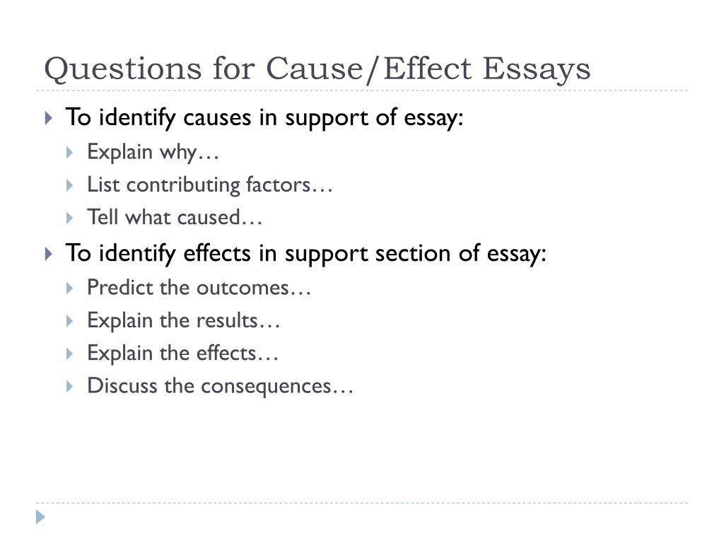 good cause and effect essays