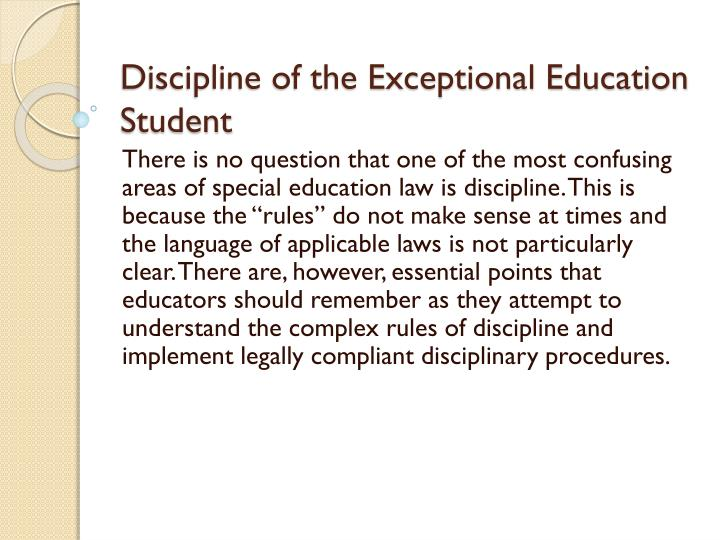 discipline of the exceptional education student n.