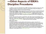 other aspects of idea s discipline procedures
