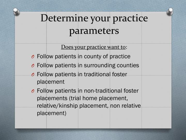 Determine your practice parameters does your practice want to